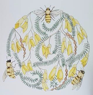 Kowhai Honey Bee Circle A4